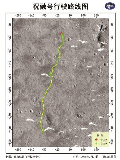 """中国""""祝融号""""火星累计行驶585米,路线图公布"""